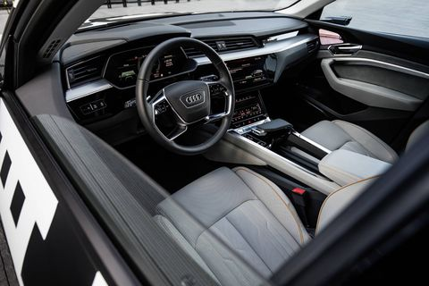 Audi shows off the interior of its upcoming battery-electric -- the e-tron.