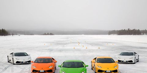 The Lamborghini Huracan is typically thought of as a fair-weather car -- not a winter beater -- but we couldn't pass up the opportunity to take the Italian super-sports car for a spin (or two) on a frozen winter lake. Here's our fleet of testers.