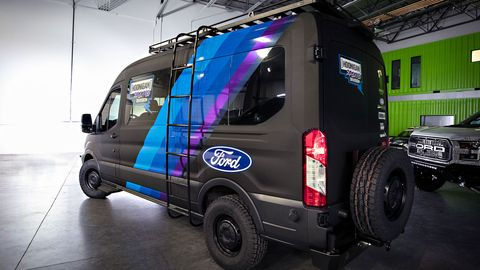 Ken Block and the team built this 4x4 Ford Transit to be a support truck for rallies.
