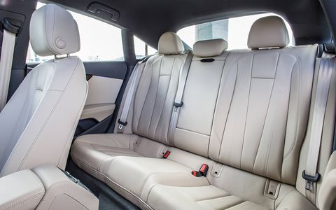 The A5 offers a cavernous interior and just about as much passenger room as the A4 sedan.