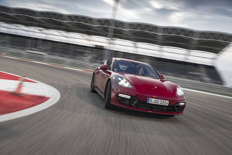 The 2019 Porsche Panamera GTS pops in red, especially when under the lights at the Bahrain International Circuit