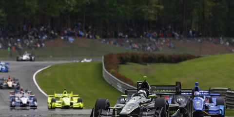 Josef Newgarden scored his first victory as a Team Penske driver in just his third race for his new team holding off Scott Dixon to win at IndyCar Series Grand Prix of Alabama at Barber Motorsports Park Sunday. Will Power led 60 laps but a punctured tire sent him to the pits with 14 laps to go and left him with a 14th place finish.