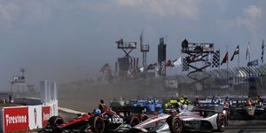Robert Wickens got together with Will Power on the opening lap Sunday.
