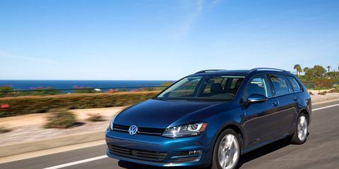 The latest member of Volkswagen's seventh-generation Golf family, the Golf SportWagen, goes on sale in U.S. dealerships in April, starting at $21,395 for the 1.8T S model with manual transmission.