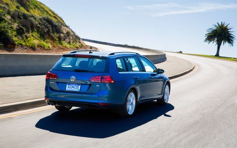 At the back, the wide rear window, geometric two-part taillights and a wide, low tailgate that integrates the license plate area pay homage to the outgoing Jetta SportWagen and solidify the new car's place in the Golf family.