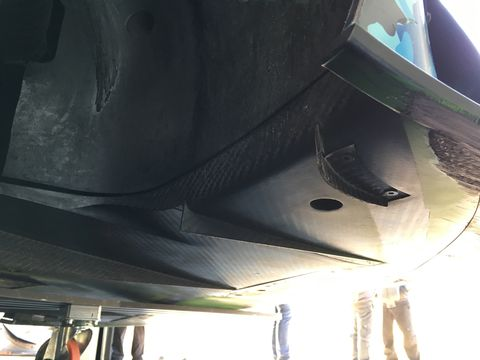 These vertical channels on the underside of the front splitter direct air from the center to the outside of the GT3 Evo, making it less pitch sensitive under braking and turn-in