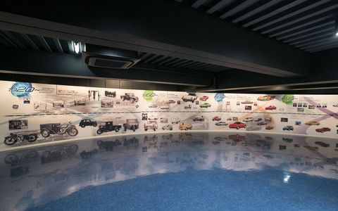 A graphic timeline of Mazda history at the museum in Hiroshima.