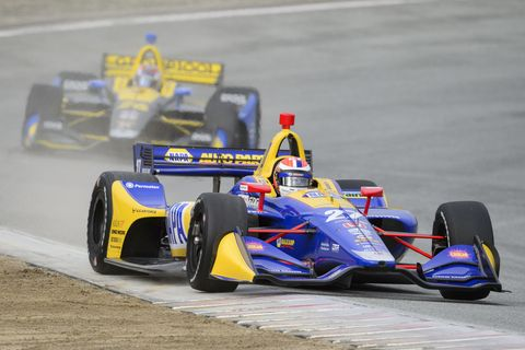 A total of 21 cars took to the track in pre-season testing at WeatherTech Raceway Laguna Seca Friday, Feb 8. Max Chilton was quickest. Here's Alexander Rossi.