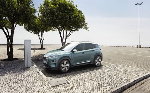 Hyundai debuted its Kona Electric EV ahead of the 2018 Geneva motor show. Offered with two powertrains, the vehicle -- which Hyundai claims is the world's first electric subcompact SUV -- will get up to 292 miles of range.