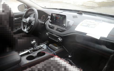 The 2019 Nissan Altima will be revealed at the New York auto show, but spy photos give us an early look at the new sedan's interior. The dashboard is dominated by a floating infotainment screen, and at least some trims get a sporty flat-bottom steering wheel.