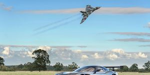 The Cold War-era Avro Vulcan strategic bomber will soon be grounded permanently, with the last flying example set to be grounded by the end of October -- which makes this photo shoot with the Aston Martin Vulcan track car even more special.