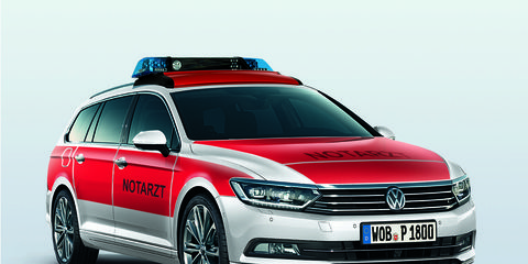 The Notarzt version of the latest Passat Variant wagon made its debut in Fulda, Germany.