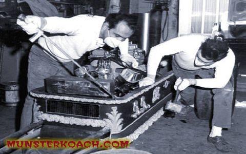 Barris works on the Drag-U-La, Grampa Munster's dragster.