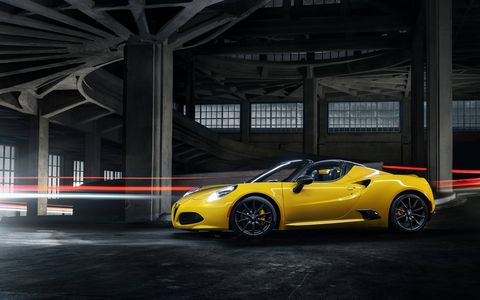 Alfa Romeo 4C Spider demonstrates its precision, agility and performance credentials with a top speed of 160 miles per hour (mph), 0-to-60 mph acceleration blasts in an estimated 4.1-seconds, 1.1 g of lateral acceleration and 1.25 g of maximum braking deceleration.