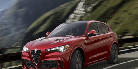 The 2018 Alfa Romeo Stelvio Quadrifoglio makes 505 hp from a 2.9-liter twin-turbo V6.