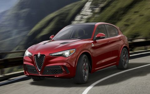 The 2018 Alfa Romeo Stelvio Quadrifoglio makes 505 hp from a 2.9-liter twin-turbo V6.