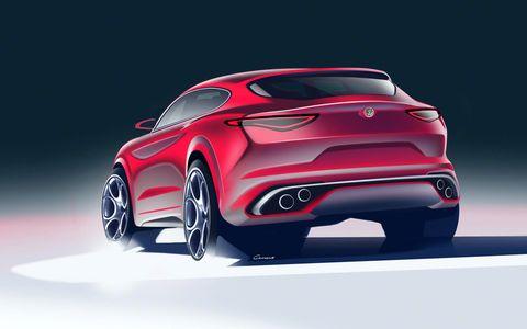 The Alfa Romeo Stelvio crossover SUV was first shown at the 2016 LA Auto Show.
