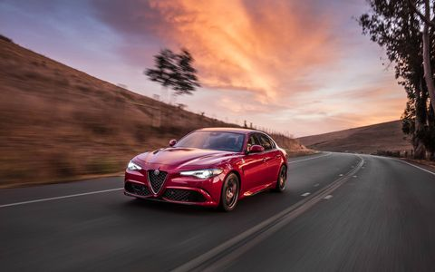 As the lineup's halo model, the 2017 Alfa Romeo Giulia Quadrifoglio delivers 505 horsepower, 0-60 miles per hour (mph) in 3.8 seconds and a record-setting 7:32 lap time around the legendary Nürburgring – fastest ever by a four-door production sedan.
