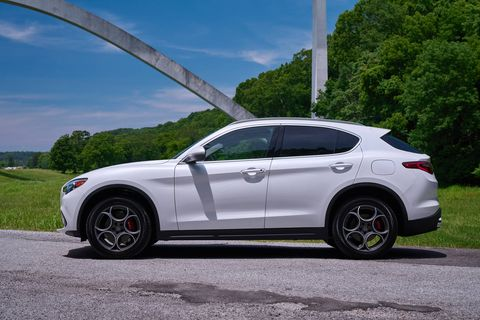 The 2018 Alfa Romeo Stelvio comes with a turbocharged 2.0-liter making 280 hp and 306 lb-ft of torque.