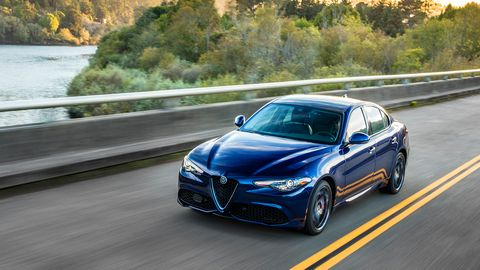 The 2019 Alfa Romeo Giulia comes with a turbocharged I4 making 280 hp.