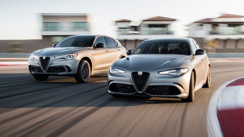 The 2019 Alfa Romeo Giulia and Stelvio Quadrifoglio NRINGs go on sale in the second quarter of 2019. There are no palm trees at the Nurburgring.