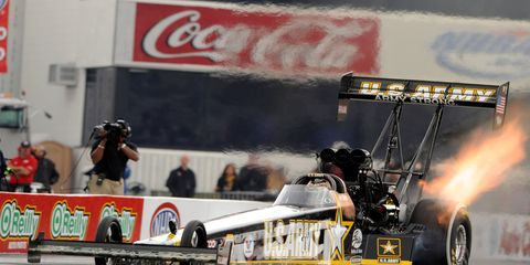 Tony Schumacher hit pay dirt with is performance in the Traxxas Nitro Shootout on Saturday. He won $100,000 for winning.