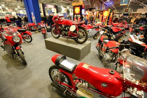 "There were motorcycles galore at Retromobile this year, many of them set to be auctioned off by Artcuriel. ""Rétromobile 2019 by Artcurial Motorcars"" is the official Salon Rétromobile auction. It began Friday with the collectors' car sale, followed on Saturday with the sale of 90 MV Agusta motorcycles, and concluded Sunday with the sale of a collection of F1 drivers' helmets and race suits. Here are the motorcycles, more MV Augustas than you've ever seen in one place."
