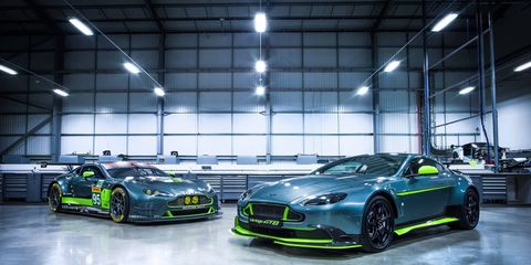 The Vantage GT8 is a lightweight, track-focused road car working with a 4.7-liter V8 and either an automatic or manual transmission.