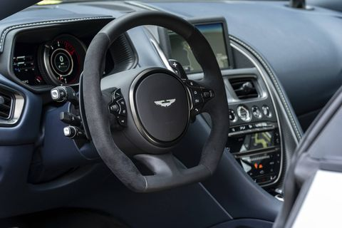 The 2018 Aston Martin DB11 AMR comes with monotone leather and Alcantara upholstery.
