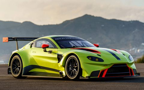 Aston Martin Racing didn't waste any time in showing off the new 2018 Vantage GTE race car; the 4.0-liter turbocharged V8 competition version debuted alongside its road-spec counterpart. It's ready to jump into the 2018-19 WEC season.