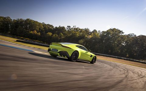 The 2018 Aston Martin V8 Vantage has a 4.0-liter twin-turbo V8 making 503 hp and 505 lb-ft of torque.