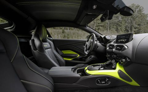 The 2018 Aston Martin V8 Vantage comes with leather and Alcantara, all of which can be personalized to your taste.