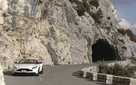 The 2019 Aston Martin DB11 Volante comes with a 503-hp twin-turbocharged 4.0-liter V8.