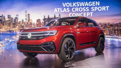 VW tooks the wraps off the Atlas Cross Sport concept on the eve of the New York auto show, previewing a five-seat Atlas due next year.