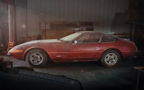 This 1969 Ferrari GTB/4 Daytona Berlinetta was stashed in a barn in Japan for 40 years but is now heading to auction.
