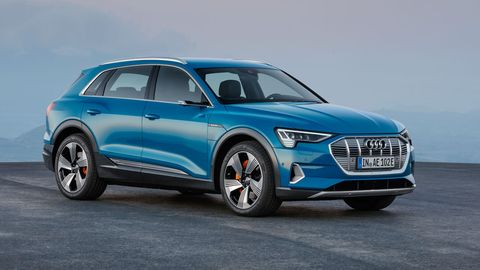 The 2019 Audi e-tron gets a 95-kWh battery and two motors, one at each axle. Range is stated to be 248 miles on one charge.