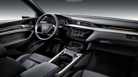 The 2019 Audi e-tron has two main screens, one for navigation, media and other stuff and one dedicated to the climate control.