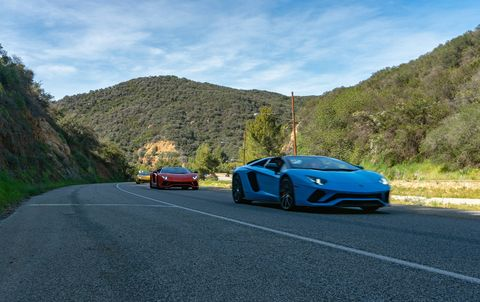 """Lamborghini says the Aventador  S  Roadster """"...combines the  technologies  and  driving  dynamics  of  the Aventador S with an emotive open air driving experience."""" We emoted all up and down Malibu last week at a rather brisk pace."""
