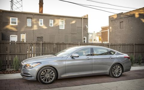 The 2015 Hyundai Genesis 3.8 sedan standard features include nine airbags, a rearview camera, acoustic laminated glass and Blue Link.