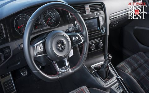 A driver-oriented cockpit with flat-bottomed steering wheel makes the GTI a fun place in which to spend time.