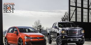 The 2015 Volkswagen Golf GTI wins the Autoweek Best of the Best/Car award; the 2015 GMC Canyon is awarded Autoweek Best of the Best/Truck.