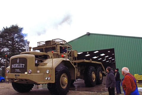 Mere humans gaze in awe at the behemoth, as it exits its behemoth lair on the way to Retromobile. Four of them were built in the 1950s by French truckmaker Berliet for use in the Sahara to access remote oil exploration areas.