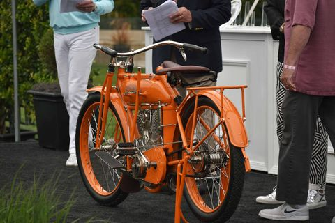 Over 3000 bikers and motorcycle fans descended on the greens of The Quail Lodge in Carmel May 5 for the 10th annual Quail Motorcycle Gathering. Here are some of the more than 350 bikes that made up the show. Here is Best of Show, Douglas & Marian McKenzie's 1913 Flying Merkel.