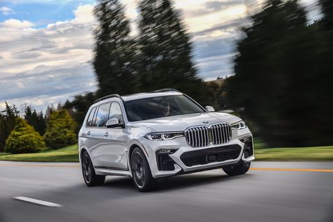 The 2019 BMW X7 xDrive50i using its 456 horsepower V8 to get up to speed on the road