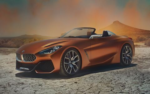 The BMW Z4 Concept debuting at the Pebble Beach Concours features a low-slung, stretched body and a compact rear end.