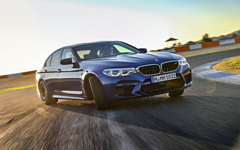2018 BMW M5 -- drifting and driving on-track.