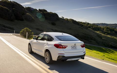 The 2017 BMW X4 M40i gets a turbocharged I6 making 355 hp with an eight-speed automatic.