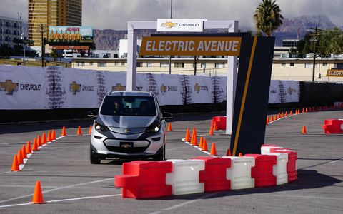 We got a few autocross-style laps in the all-new Chevy Bolt in a parking lot at CES. Nice ride!