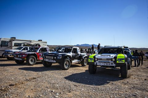 The Rocket Mototrsports Trophy Truck, driven by Jenson Button, among others, bashes its way through the desert during the last Mint 400.