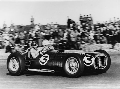 Juan Manuel Fangio was one of the great drivers to pilot BRMs over the years. Here he wrestles the first one around the track.